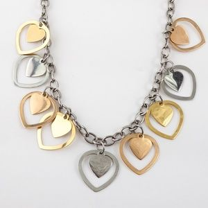 Milor Stainless Steel Necklace Tri-Tone Hearts